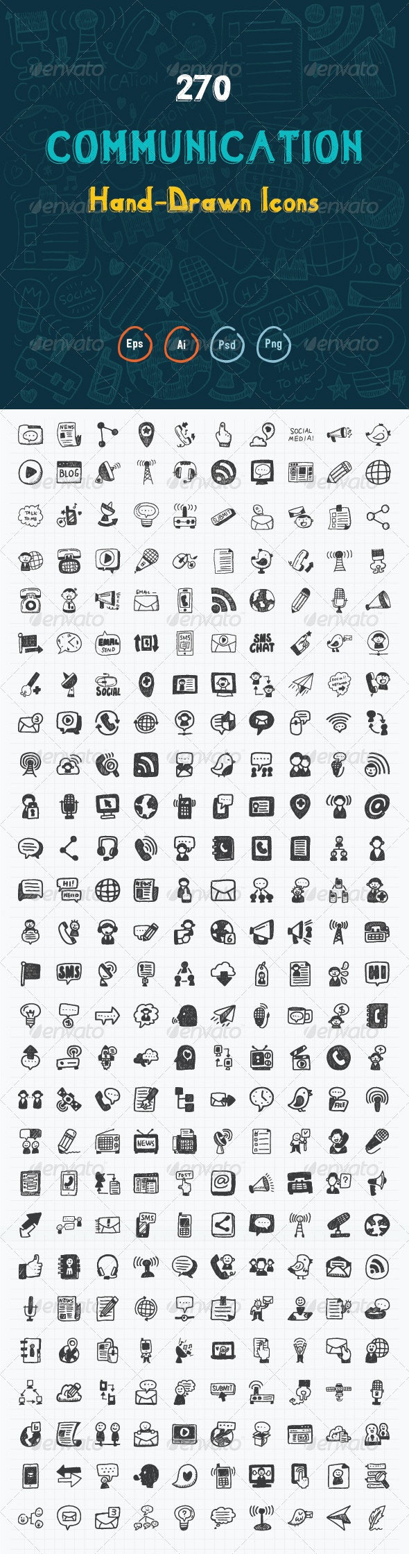 270 Hand Drawn Communication Icons - Web Icons