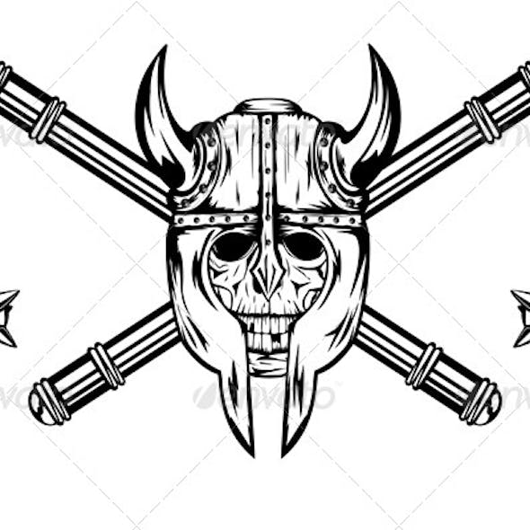 Skull in Helmet and Crossed Maces