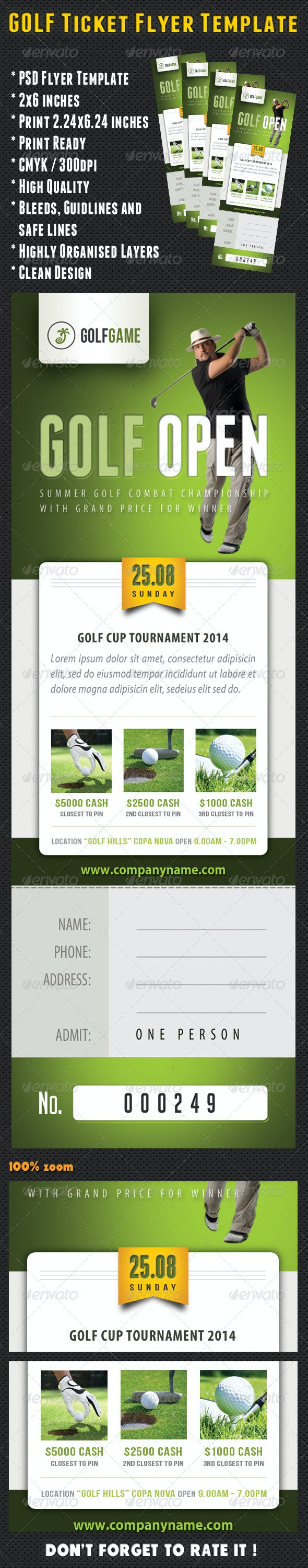 Golf Ticket Template 04 - Sports Events
