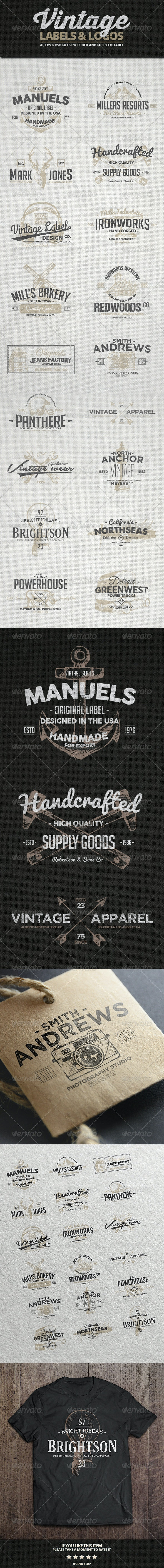 Vintage Labels & Logos Vol.3 - Badges & Stickers Web Elements