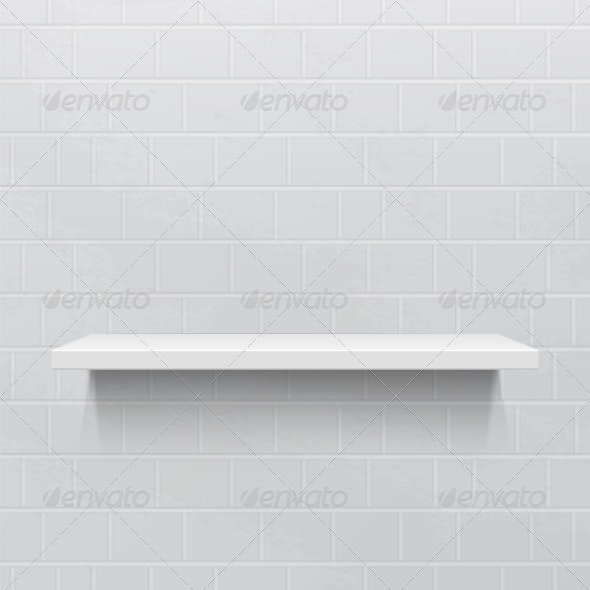 White Realistic Shelf Against Brick Wall - Backgrounds Decorative