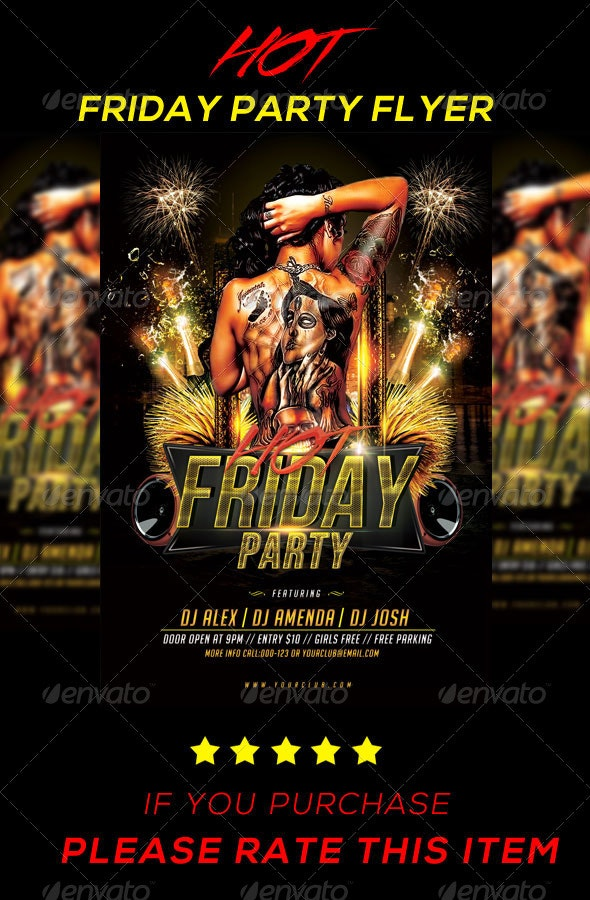 Hot Friday Party Flyer - Clubs & Parties Events