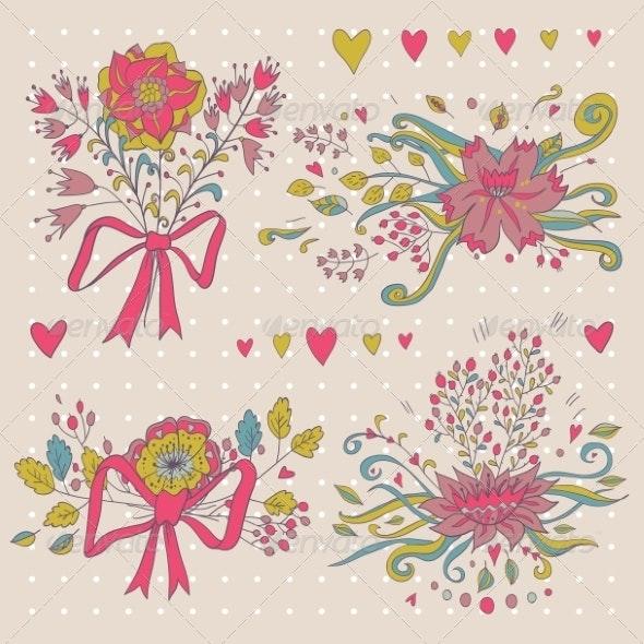 Set of Floral Bouquets  - Flowers & Plants Nature