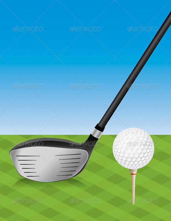 Vector Golf Driver and Teed Ball - Sports/Activity Conceptual