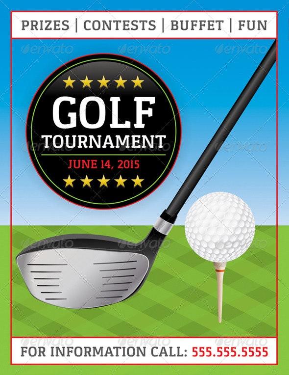 Vector Golf Tournament Flyer - Sports/Activity Conceptual