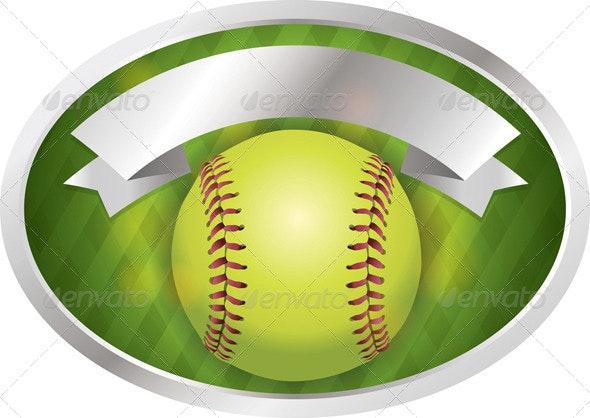 Vector Softball Emblem Banner Illustration - Sports/Activity Conceptual