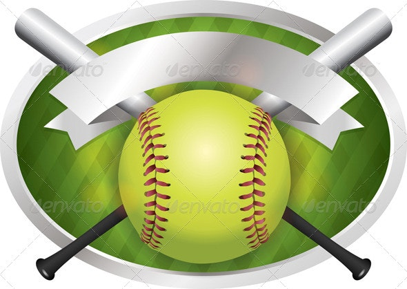 Vector Softball and Bat Emblem Banner Illustration - Sports/Activity Conceptual