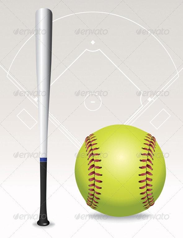 Vector Softball Field, Ball, Bat Illustration - Sports/Activity Conceptual