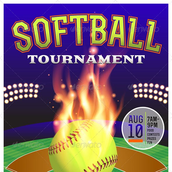 Vector Softball Tournament Illustration