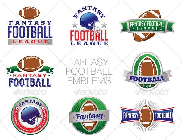 Vector Fantasy Football Emblem Illustrations - Sports/Activity Conceptual