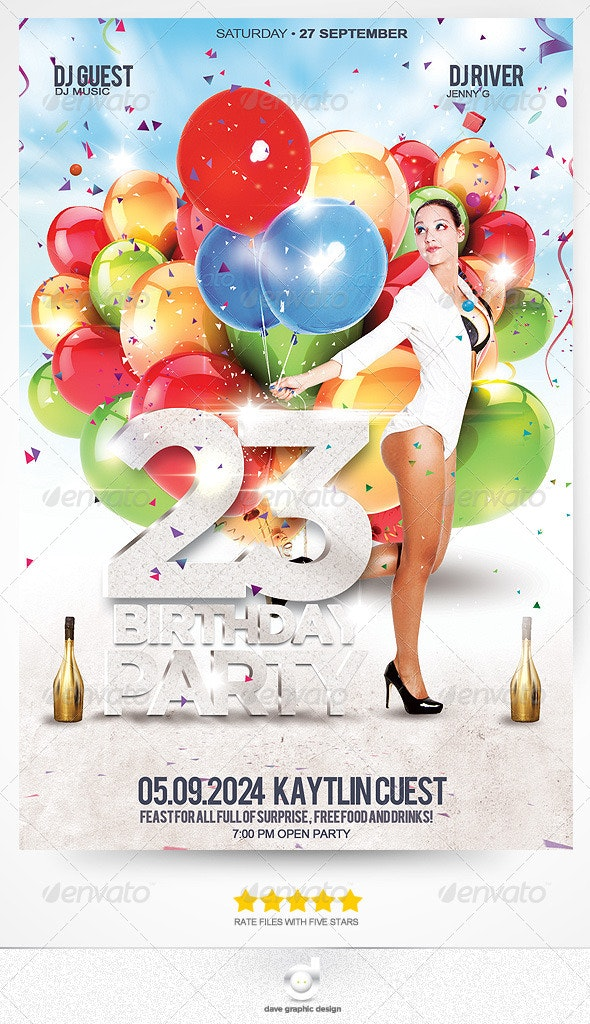 Flyer Birthday Girl 23 Party - Events Flyers