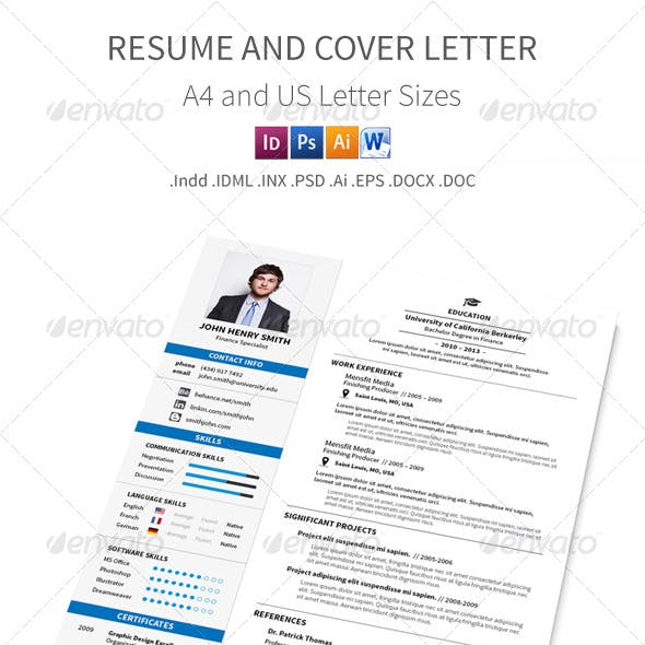 Resume and Cover Letter – A4 and Letter Sizes