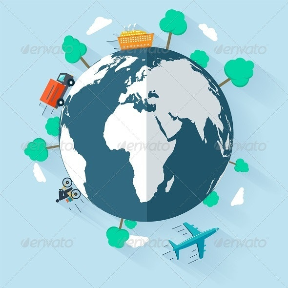 Concept Delivering Goods Worldwide - Travel Conceptual