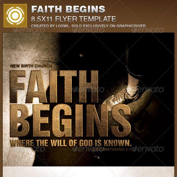 Faith Begins Church Flyer Template