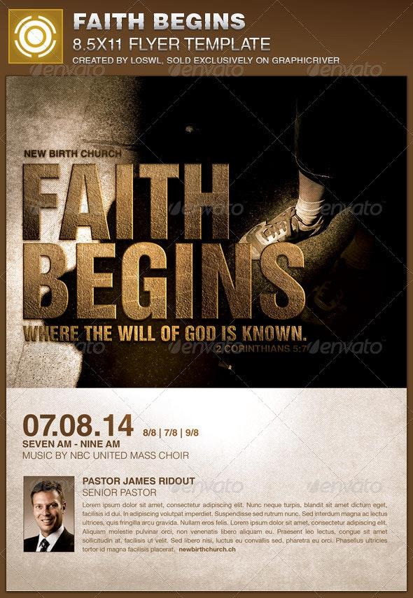 Faith Begins Church Flyer Template - Church Flyers