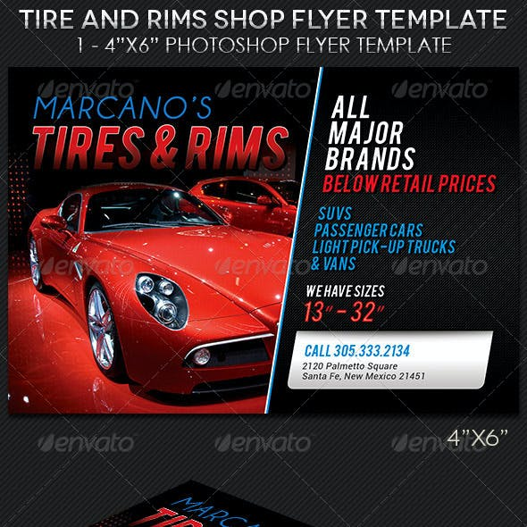 Tire Rims Shop Flyer Template