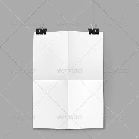 White Sheet of Paper on Background - Objects Vectors