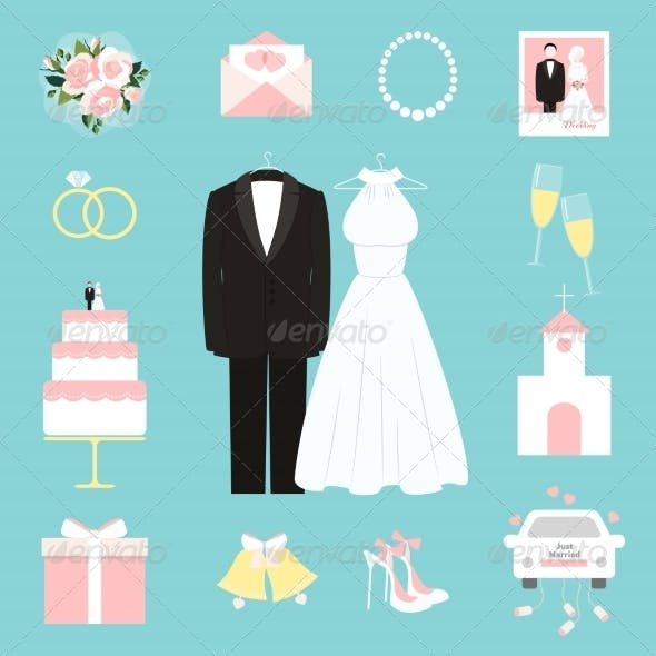 Suit and Gown Surrounded by Wedding Icons