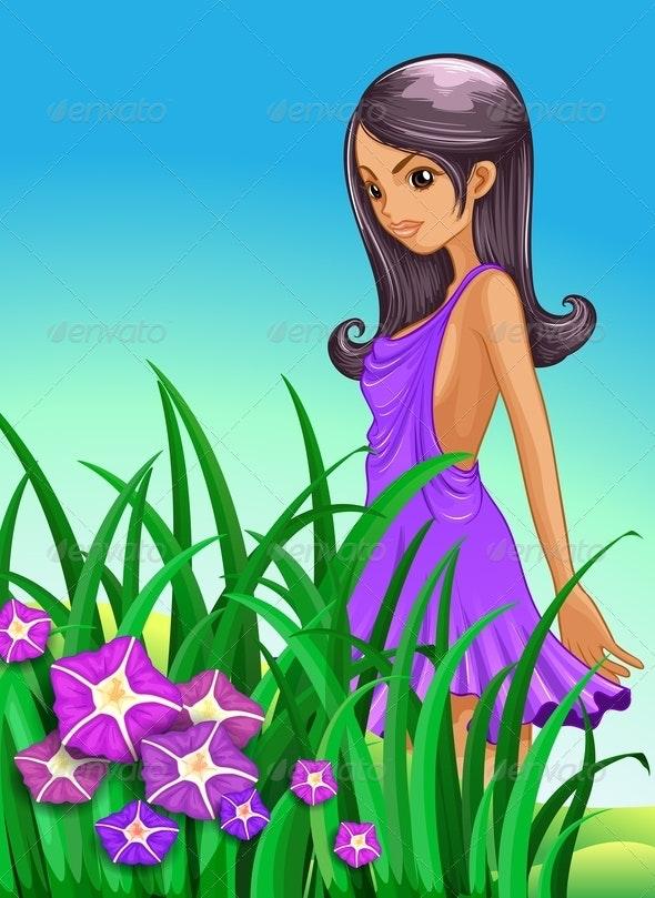 Lady wearing Purple Dress - People Characters