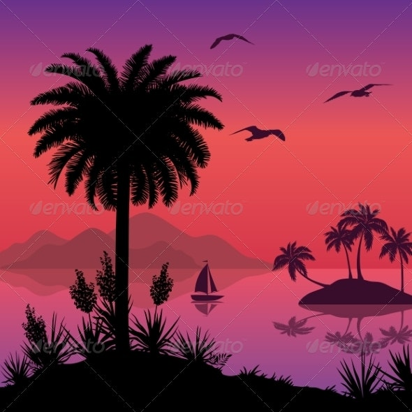 Tropical Sea Landscape with Palms and Ship - Landscapes Nature