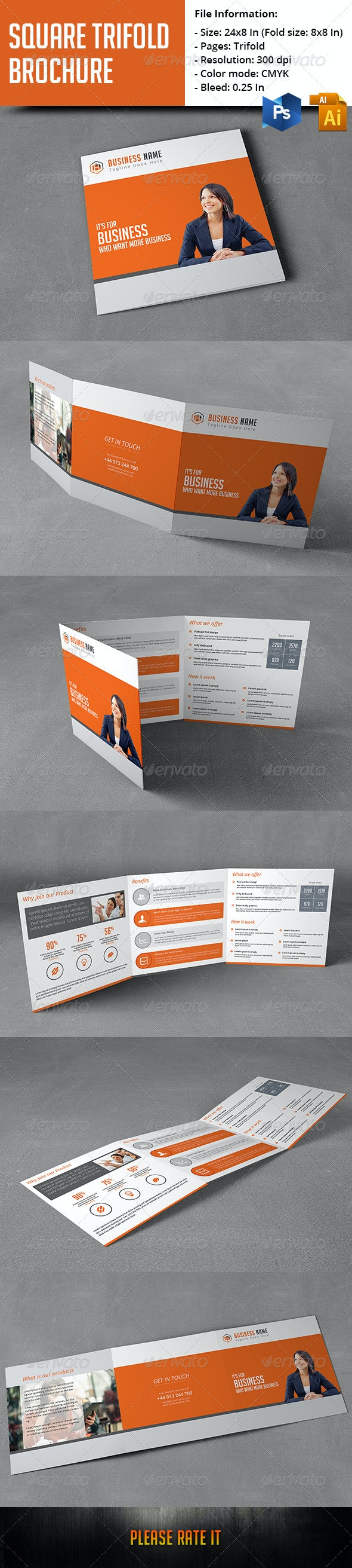 Square Trifold Brochure - Corporate Business Cards