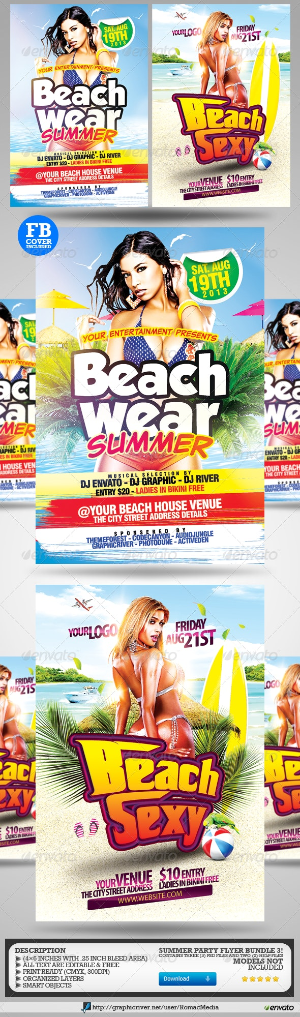 Summer Party Flyers Bundle 3 - Clubs & Parties Events