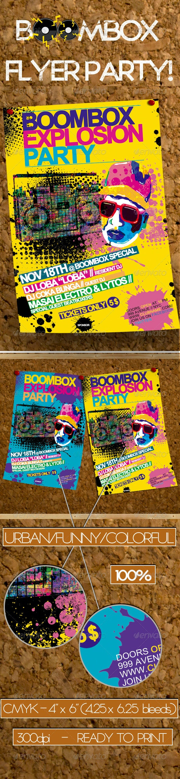 Boombox Party Flyer Template - Clubs & Parties Events