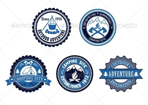 Set of Outdoor Adventure and Camping Emblems - Travel Conceptual