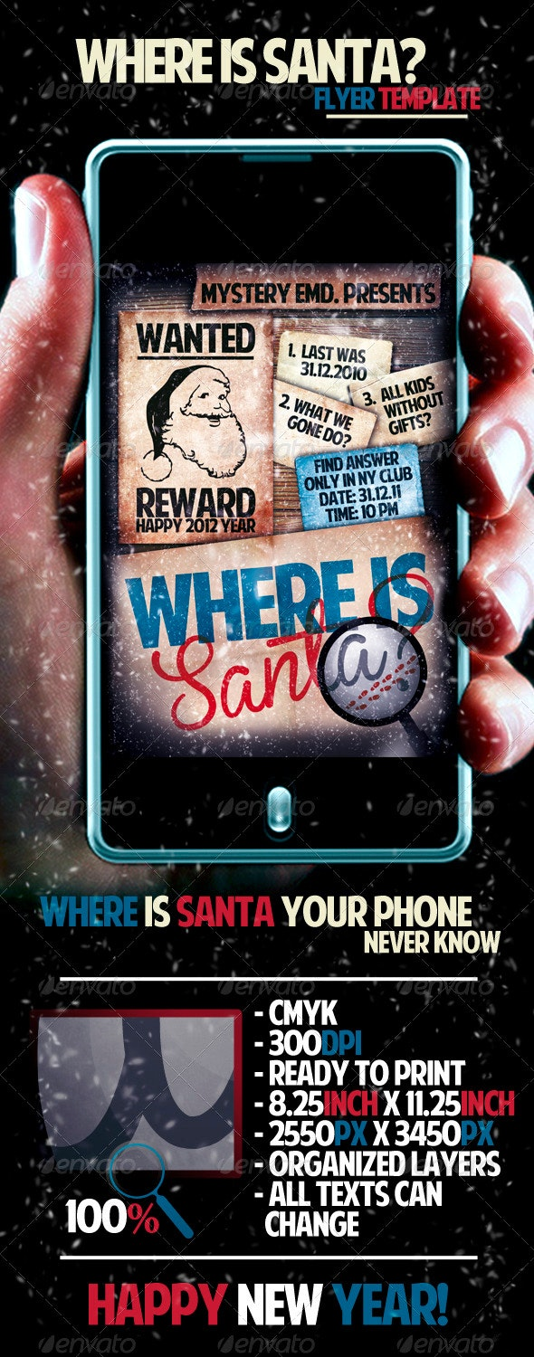 Where Is Santa Flyer Template - Clubs & Parties Events