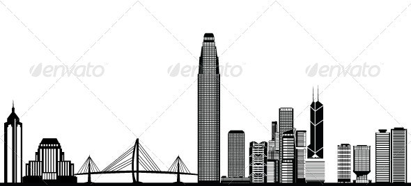 Hong Kong Skyline - Backgrounds Business