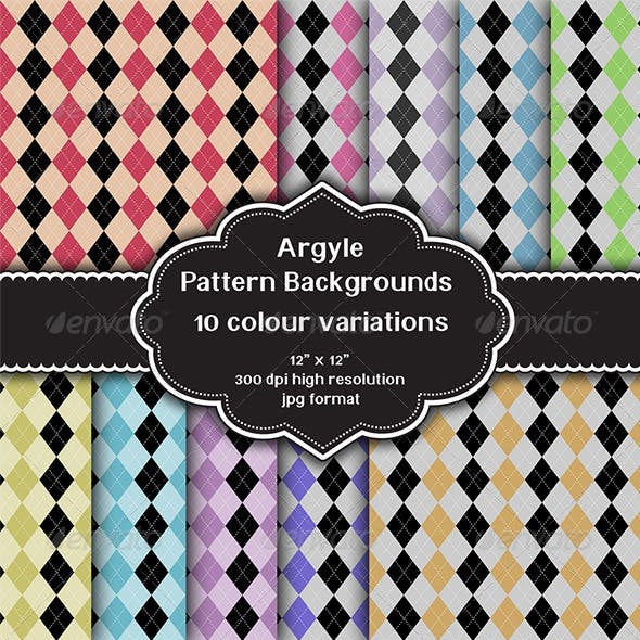 Argyle Pattern Background Set