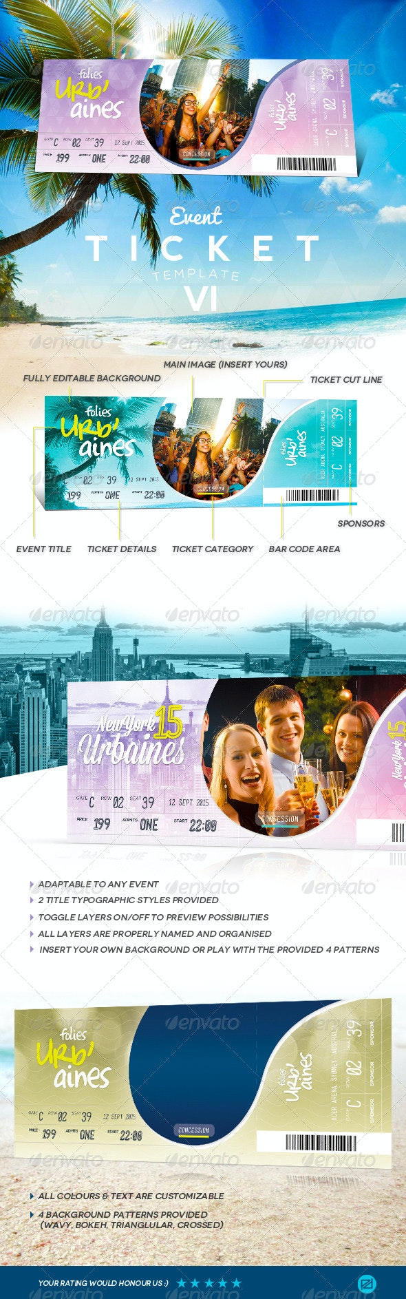 Event Tickets Template VII - Miscellaneous Print Templates