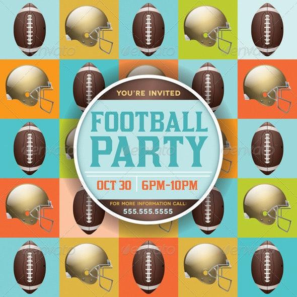 Vector Football Pattern Party Invitation - Sports/Activity Conceptual