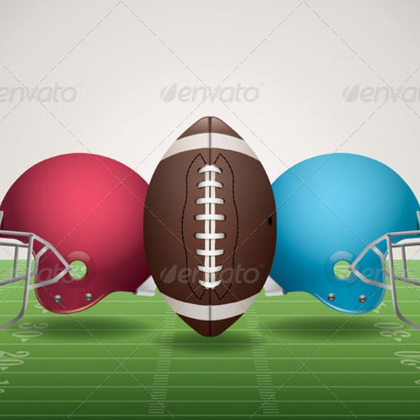 Vector American Football Field, Ball, and Helmets