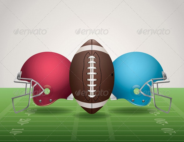 Vector American Football Field, Ball, and Helmets - Sports/Activity Conceptual