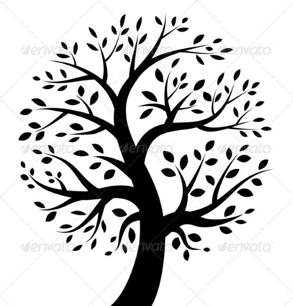 Black Tree Icon - Decorative Symbols Decorative