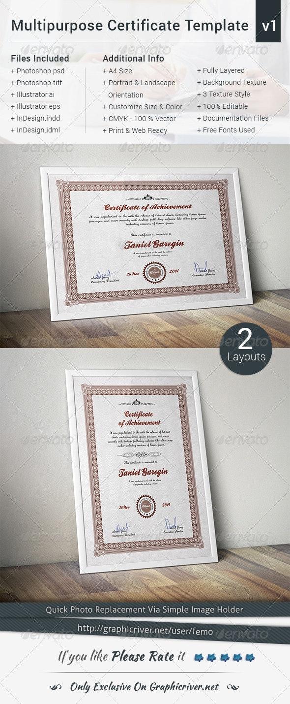 Multipurpose Certificate Template   Volume 1 - Certificates Stationery