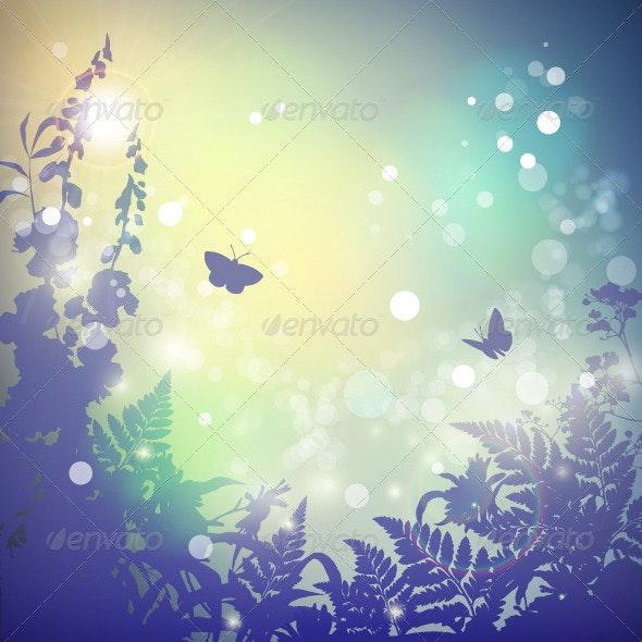 Summer Vector Landscape  - Seasons Nature