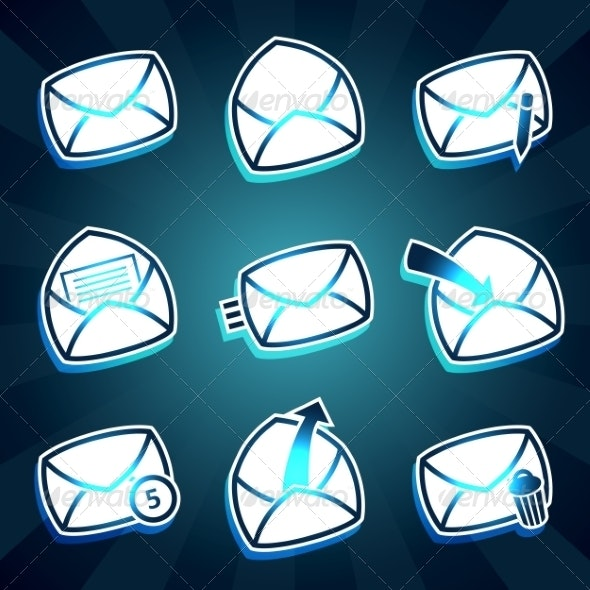 Set of Message and Envelop Icons for Email - Web Technology