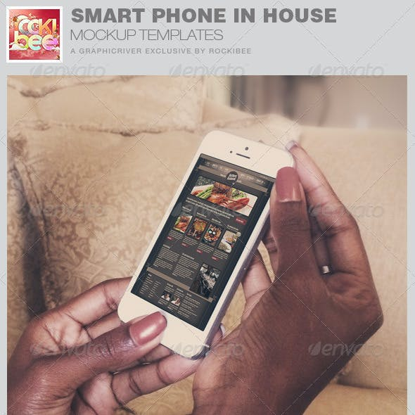 Smart Phone in House Mockup Template