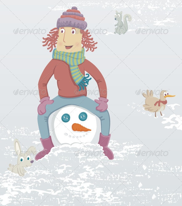 Woman and Snowman - People Characters