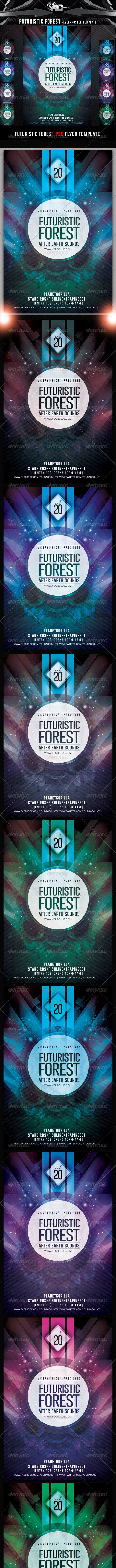 Futuristic Forest Flyer Template - Clubs & Parties Events