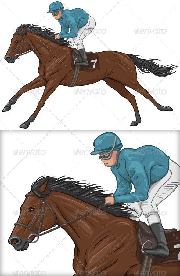 Jockey on a Brown Racehorse - Animals Characters