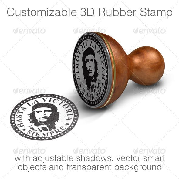 Customizable 3D Rubber Stamp Mock-up
