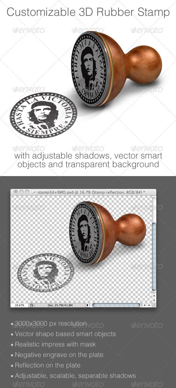 Customizable 3D Rubber Stamp Mock-up - Miscellaneous Product Mock-Ups