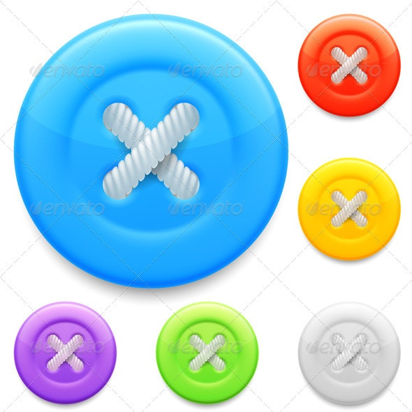 Clothing Buttons - Objects Vectors