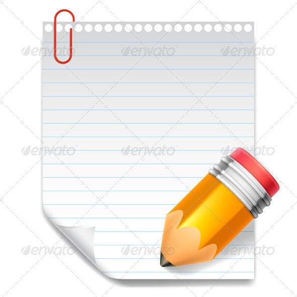 Note and Pencil - Objects Vectors