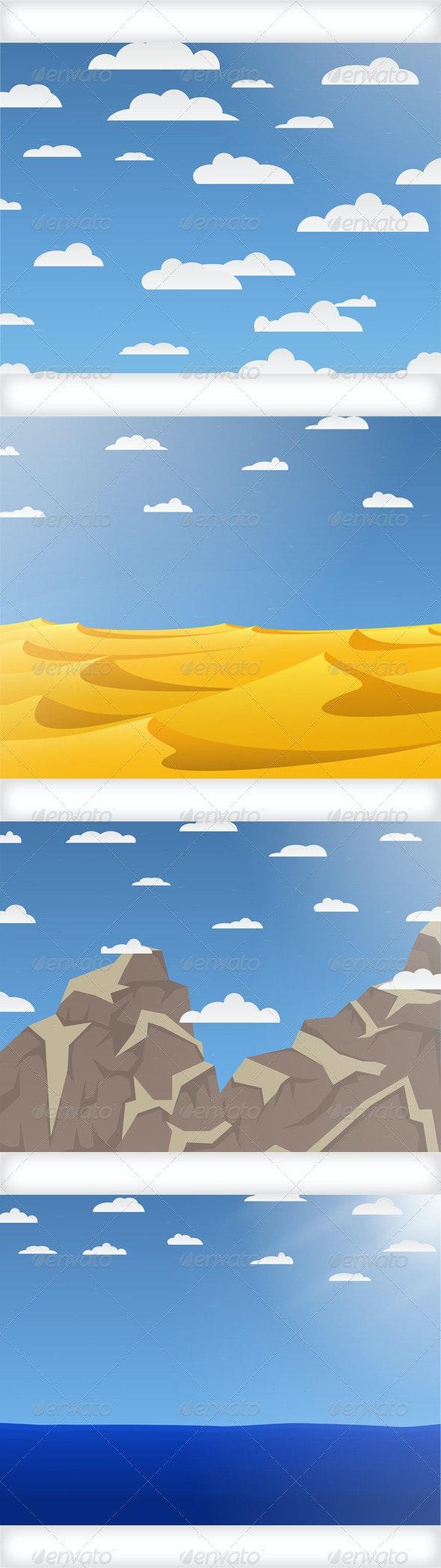 Set of Nature Vector Backgrounds - Landscapes Nature