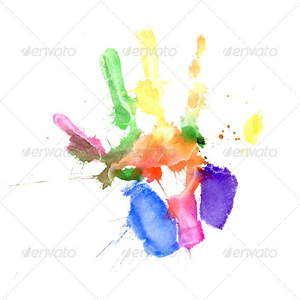 Handprint in Vibrant Colors of the Rainbow - Miscellaneous Characters