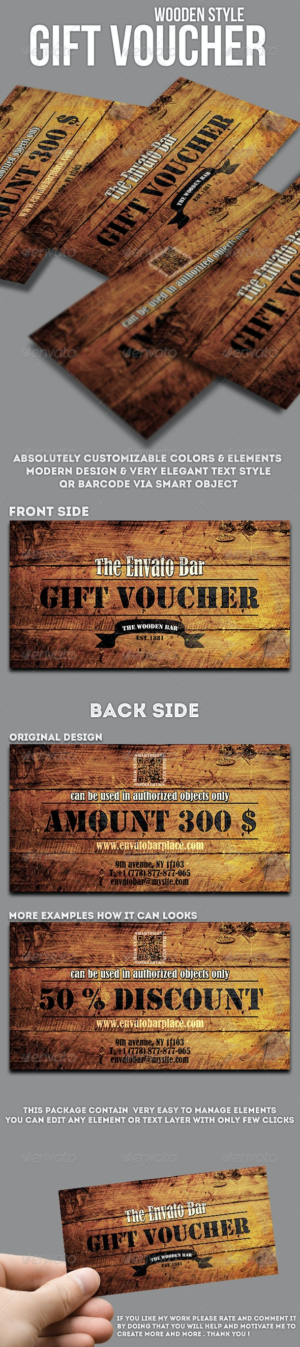Wooden style gift voucher - Cards & Invites Print Templates